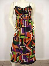 BETSEY JOHNSON GEOMETRIC PRINT SILK CHIFFON SPAGHETTI STRAP MAXI DRESS WOMEN'S 2