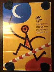 ORIGINAL VINTAGE OLYMPIC GAMES POSTER BARCELONA XXV  OLYMPIAD 1992 OLIMPIADA
