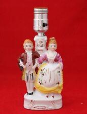 Vintage Japan Apeco Ceramic Victorian Figurine Couple Electric Table Lamp