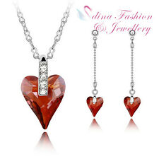 18K White Gold Plated Made With Swarovski Crystal Peach Heart Orange Red Set