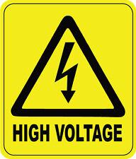 HIGH VOLTAGE WARNING SIGN - VINYL STICKER - 16 cm x 13 cm
