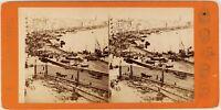 Italia Napoli Il Port c1865 Foto Giorgio Sommer Stereo Vintage Albumina