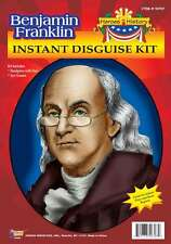 Benjamin Franklin Colonial Accessory Kit Bald Top Grey Wig With Wire Rim Glasses