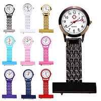 ITS- Metal Chain Brooch Fob Nurse Watch Stainless Steel Clip-on Pocket Quartz No