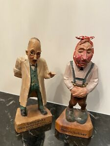 """Vintage Wood Hand Carved and Painted Dentist & Patient Figurines Germany 6"""""""