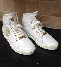 Authentic VERSACE WHITE LEATHER HIGH-TOP MEDUSA PALLAZO SNEAKERS IT 43 US 10