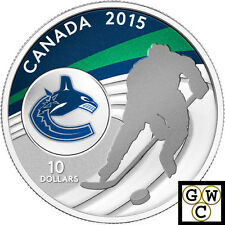 2015 Vancouver Canucks-NHL Colored Prf $10 Silver Coin 1/2oz .9999 Fine (14100)