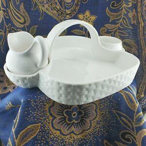Williams Sonoma White Porcelain Ceramic Berry Fruit Basket Set by SECLA Portugal
