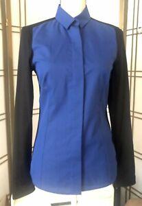 AKRIS PUNTO 2 Tone Shirt Sz 6 Blue Black Cotton Blend Button Blouse NEW