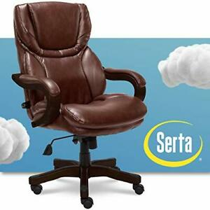 Serta Big and Tall Executive Office Chair with Wood Accents Adjustable High B...