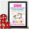 Unicorn Gifts For Girls Personalised Birthday Presents for Her Daughter Keepsake