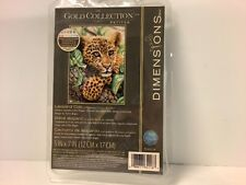 Dimensions Gold Collection Petites Leopard Cub 5x7 Counted Cross Stitch Kit New