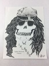 W. Axl Rose Skull Drawing from Guns N' Roses Unknown Artist GNR 80s / 90s 8.5x11
