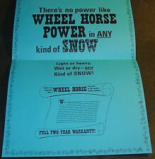 VINTAGE 1969 WHEEL HORSE TRACTOR & SNOWBLOWER SNOW-POWER CHART FRAMABLE  (658)