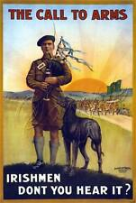 IRISH BRIGADE BAGPIPE WOLFHOUND DOG SOLDIERS WW I RECRUITMENT CANVAS ART PRINT