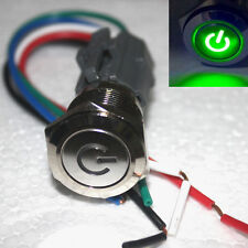 GREEN 19mm Push Button ON/OFF Switch With Plug Power Symbol LED  Waterproof 12v