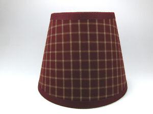 Country Primitive Burgundy Plaid Window  Homespun Fabric Lampshade Lamp Shade
