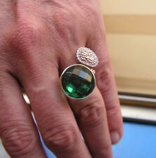 Estate Silver Yellow Gold  Natural Oval Green tourmaline Solitaire Ring Sz 7,5