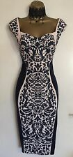 NWT Lipsy Illusion Navy Fitted Wiggle Mother Bride Wedding Party Dress Uk 10 -12