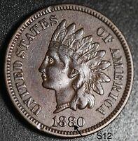 1880 INDIAN HEAD CENT - XF EF - With ACCENTED E *SNOW-12*