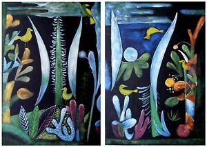 Set/2 Paul Klee Paesaggio Repro, Hand Painted Oil Painting 16x24in/ea