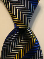 NICK BRONSON Men's 100% Silk Necktie ITALY Designer STRIPED Blue/Gray/Yellow EUC