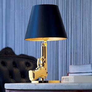Modern Gold Gun Pistol Black Fabric Shade LED Bedroom Beside Desk Table Lights