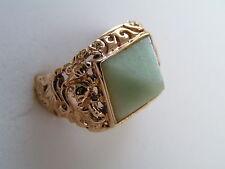 Rare Burmese Filigree 14K Gold Jade Pyramid Sanuk Ring Size 6