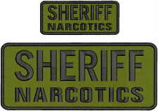 SHERIFF EMBRPODERY PATCH 5X12 AND 2.5X6 HOOK ON BACK OD GREEN//GOLD