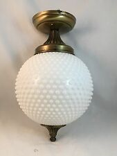 Vtg Mid Century Glass Hobnail Ceiling Light Fixtures Retro Flush Chandelier Moe