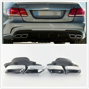 2pcs Stainless Steel Exhaust Pipe Muffler Tips Cover For Mercedes X166 W222 W251