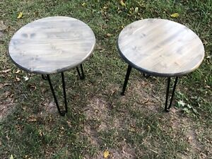 Set of 2 gray round farmhouse end tables with black metal legs