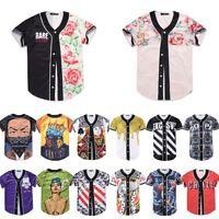 Graphic 3D Print Mens Baseball Tee Button Jersey Raglan Hiphop Sport T Shirt