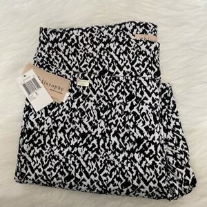 "NEW wTag-PHILOSOPHY Bengaline Black & White Print Crop Pants PL-inseam 24"""