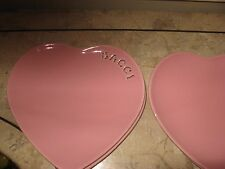 Williams Sonoma Pink Heart Shaped Bacii Dessert Saucers- Set of 4, EUC
