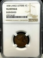 1858 LARGE LETTERS FLYING EAGLE CENT 1c -NGC VG DETAILS- BURNISHED-RARE !