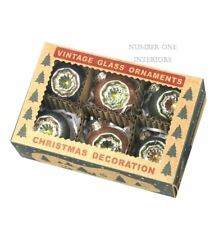 Christmas mercury glass baubles SET OF 6 boxed vintage style Christmas ornaments