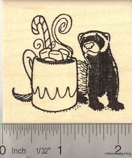Christmas Ferret with peppermint Hot Chocolate Rubber Stamp H12507 WM Holiday