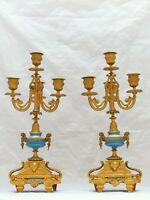 Pair French Antique Candlestick Gilded Metal SEVRES Porcelain Candelabra 19TH
