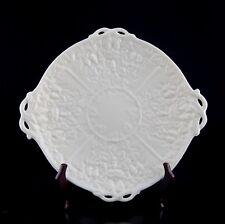 Belleek Ireland Mask (Irish) Handled Cake Plate Embossed Grapes No Luster Accent