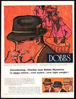 1960 DOBBS Panama Hat Men's Vintage Clothing Fashion PRINT AD
