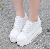 Women Canvas Platform Hidden Wedge high heel Lace up Creepers Sneakers Shoes win
