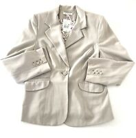 CAbi Womens One Button Blazer Plus Size 14 Collar V-Neck Lined Suit Jacket Gray