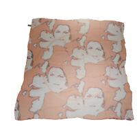 Auth CHANEL CC Logo XL Scarf Handkerchief 100% Silk Orange Accessory 60MG768