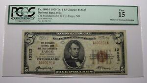$5 1929 Fargo North Dakota ND National Currency Bank Note Bill Ch. #13323 F15