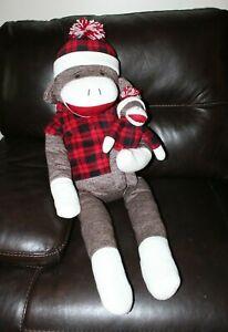 "Dan Dee 36"" Large Sock Monkey w/ Plaid Shirt Holding Baby Sock Monkey"