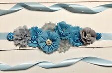 Blue Silver/Gray Maternity Sash Belt /Baby Shower Vintage Belt /Flower Girl Sash