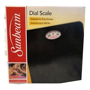 SUNBEAM SAB700-05 Dial Bathroom Scale BLACK Accurate 300 lbs Compact NEW