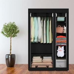 "67"" Portable Clothes Closet Fabric Wardrobe Double Rod Storage Organizer Black"