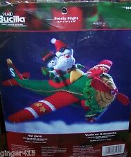 "Bucilla SANTA ""FROSTY FLIGHT AIRPLANE"" Felt Christmas Centerpiece Kit OOP 85457"